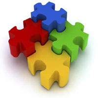 Corporate Identity - Image of yellow, red, blue and green puzzle pieces.