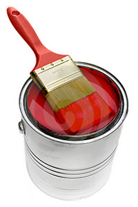 Graphic Design - Red paint brush on top of a can of red paint representing graphic design services from WSI.