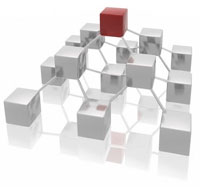 Web Hosting - Server Hosting - Email Hosting - Image of blocks representing hosting and networking design.